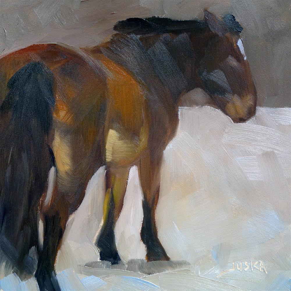 """Study of Bay Horse in Snow"" original fine art by Elaine Juska Joseph"