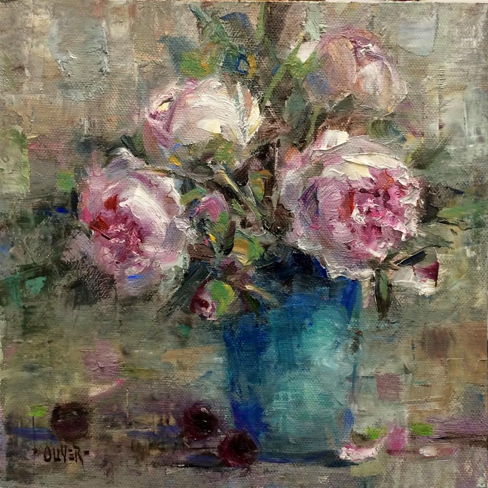 """""""Another Peony Painting #3"""" original fine art by Julie Ford Oliver"""