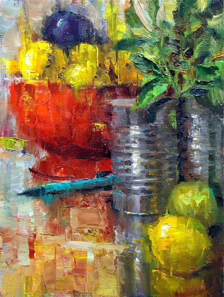 """""""Pencil with Lemons"""" original fine art by Julie Ford Oliver"""
