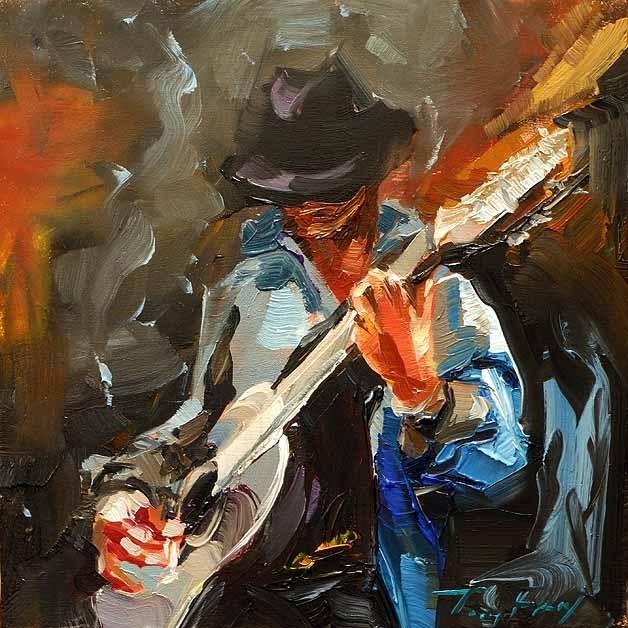 """""""Rockmusiker"""" original fine art by Jurij Frey"""