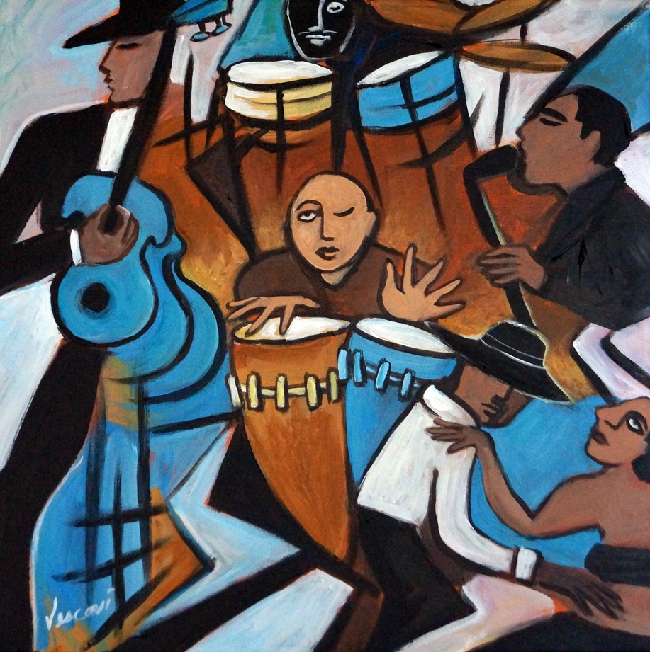 """Salsa Night 2"" original fine art by Valerie Vescovi"