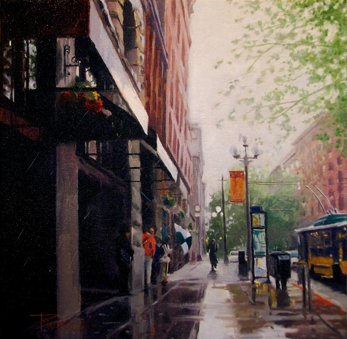 """""""Rain Walker  Seattle city oil painting"""" original fine art by Robin Weiss"""