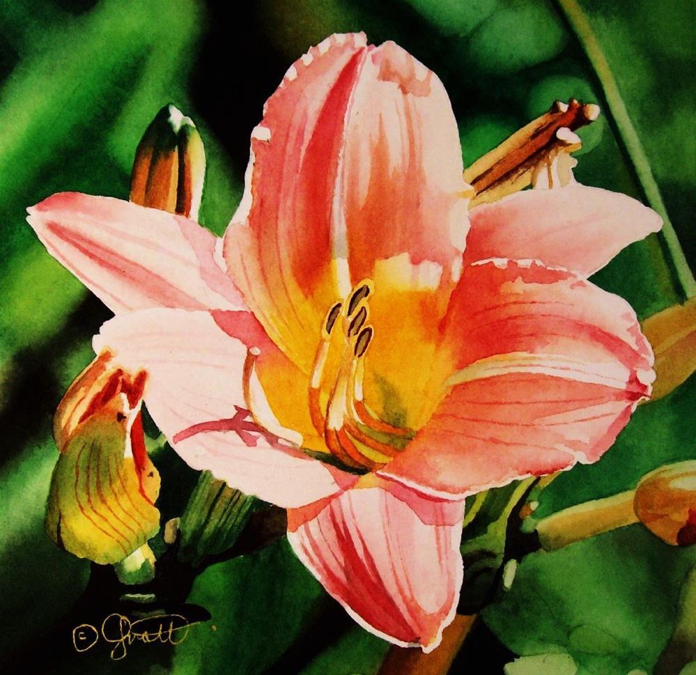 """Peach Day Lily"" original fine art by Jacqueline Gnott, TWSA, WHS"