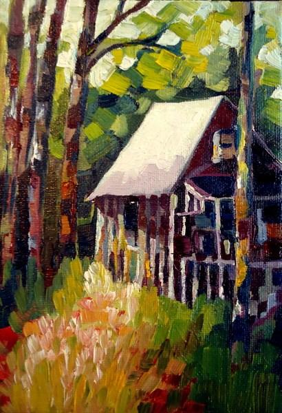 """cabin"" original fine art by Laurie Mueller"