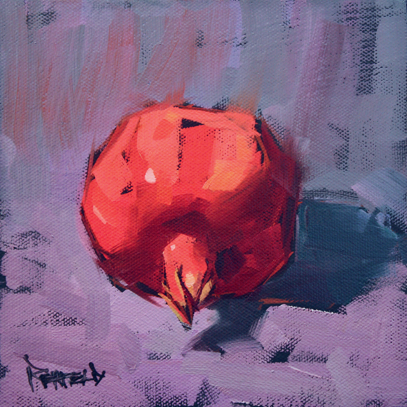 """Pomegranate on Purple"" original fine art by Cathleen Rehfeld"
