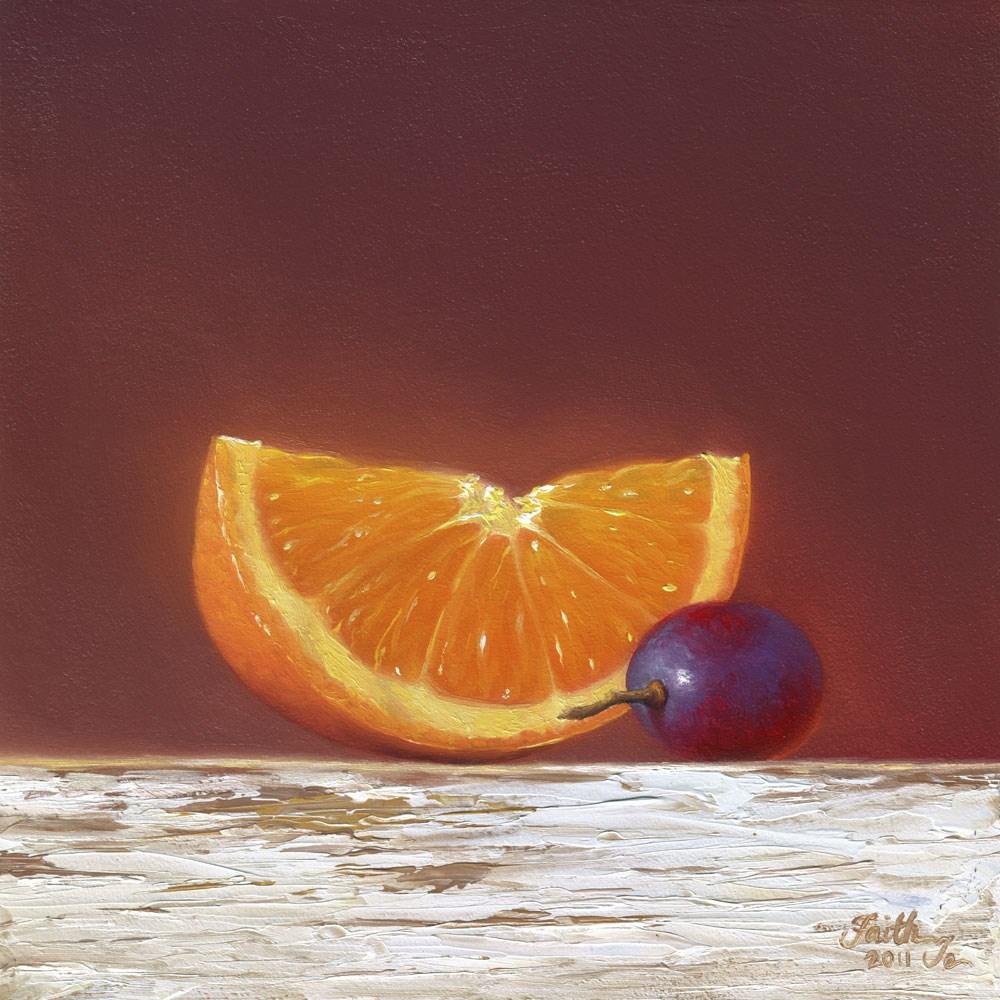 """Orange Slice with Grape"" original fine art by Faith Te"