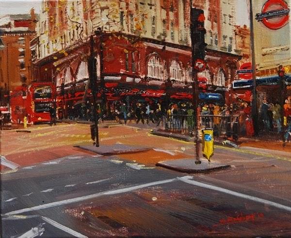 """""""Evening Light, Leicester Square"""" original fine art by Adebanji Alade"""