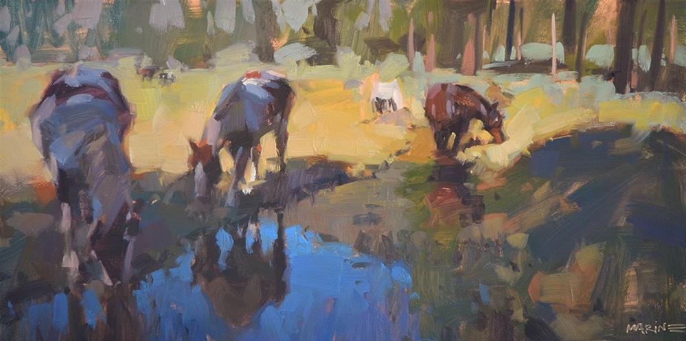 """Horses, Shade, Water"" original fine art by Carol Marine"
