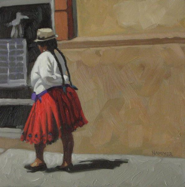 """Purple sash 6x6 oil"" original fine art by Claudia Hammer"