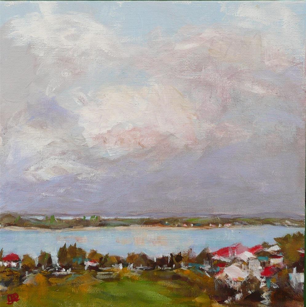 """""""Red Roofs Lakeside"""" original fine art by Leanne Owen"""