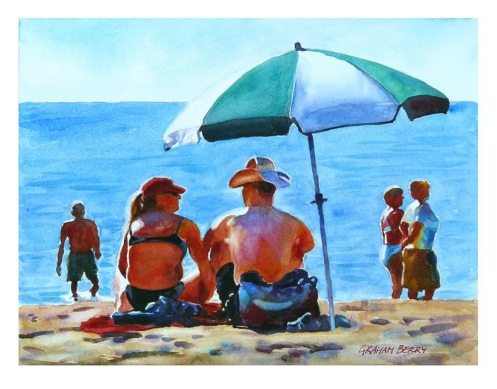 """Couple on beach."" original fine art by Graham Berry"