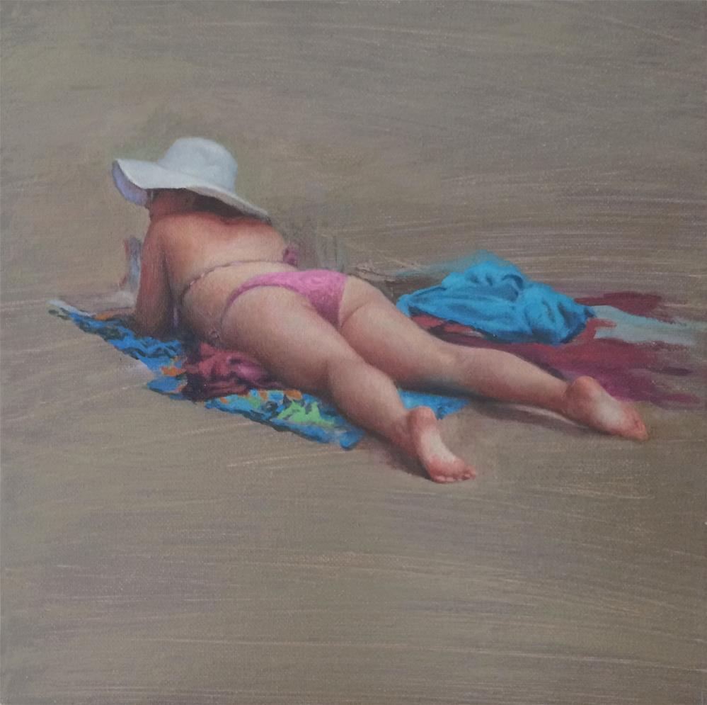 """Bather"" original fine art by Yuehua He"