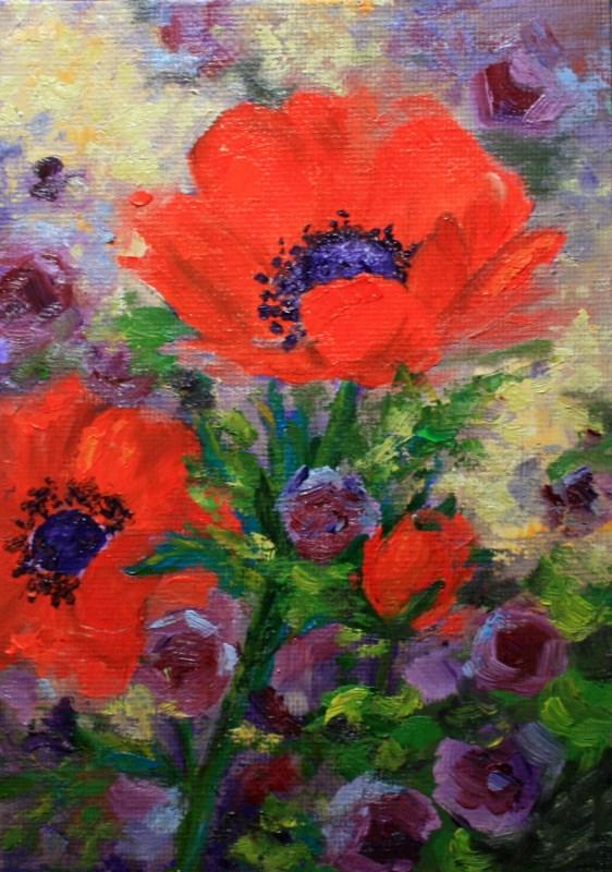 """""""Crimson and Purple"""" original fine art by Jean Nelson"""