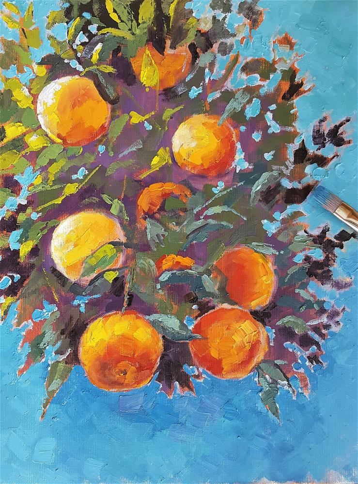 """""""""""Bunch of Oranges"""" – Food Themed Oil Painting"""" original fine art by Bhavna Misra"""