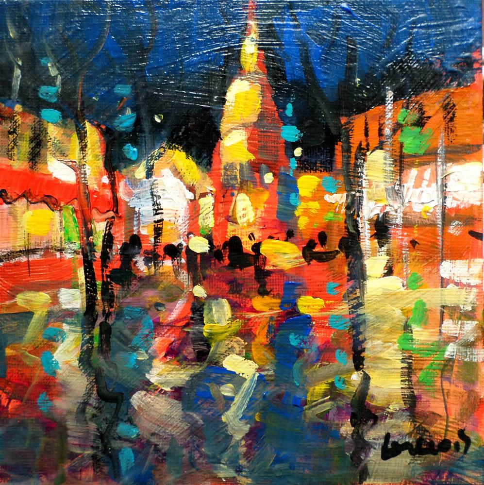 """le Sacrè_Coeur Montmartre Paris the nigth"" original fine art by salvatore greco"