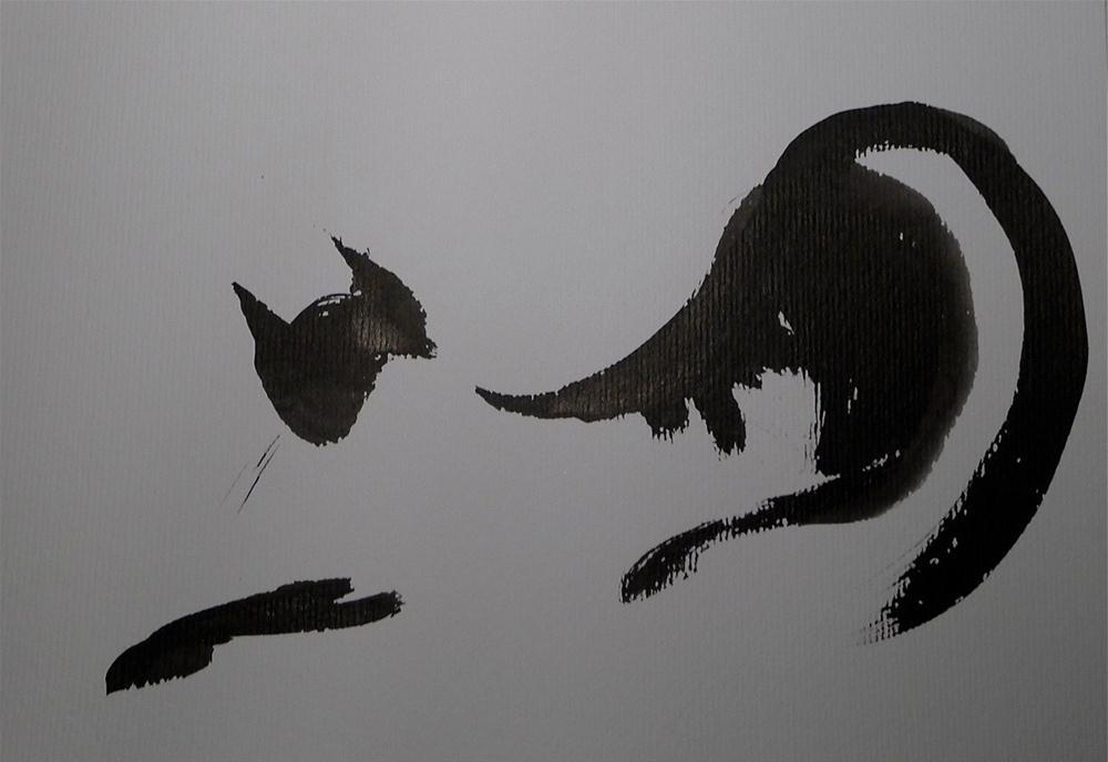"""""""Cat - stretching"""" original fine art by Ulrike Schmidt"""