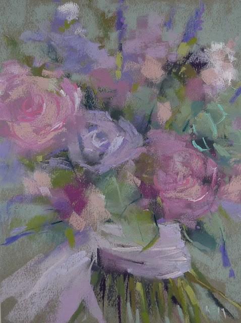 """Painting the Wedding Bouquet"" original fine art by Karen Margulis"