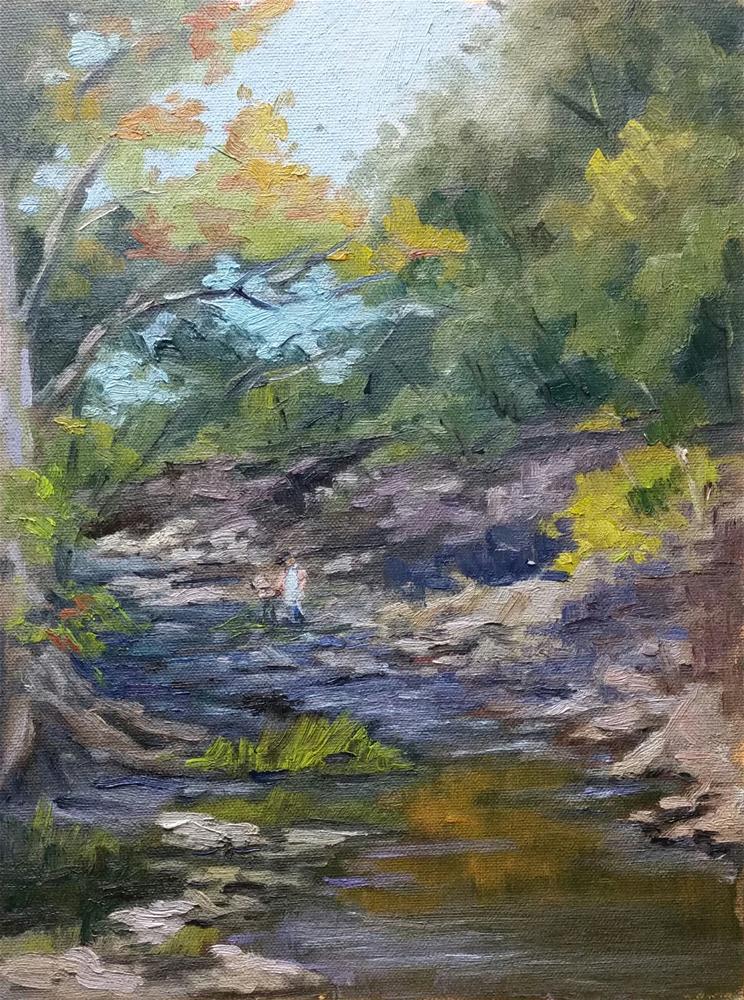 """""""Painter in Coyne Creek-en plein air"""" original fine art by Veronica Brown"""