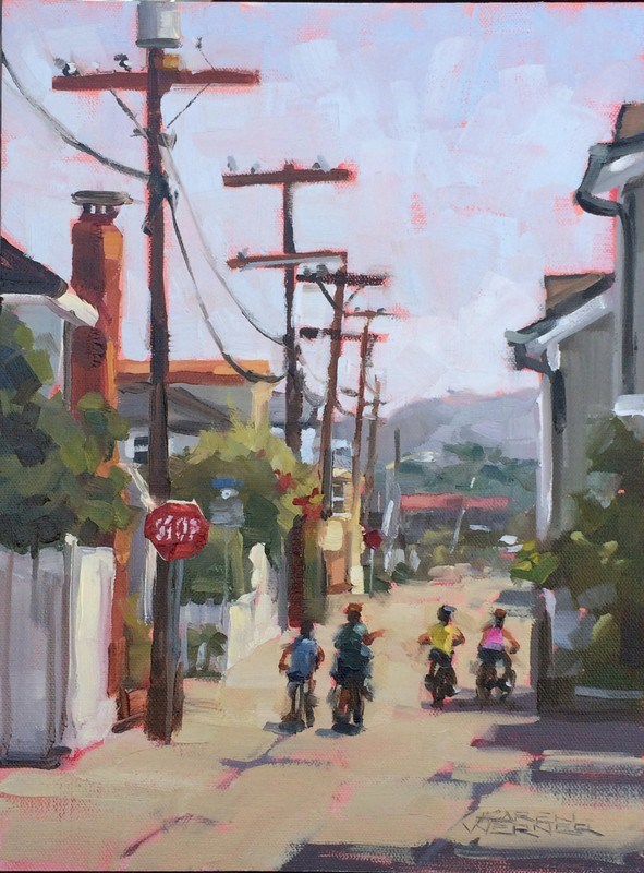 """Island Posse -a plein air painting from Balboa Island"" original fine art by Karen Werner"