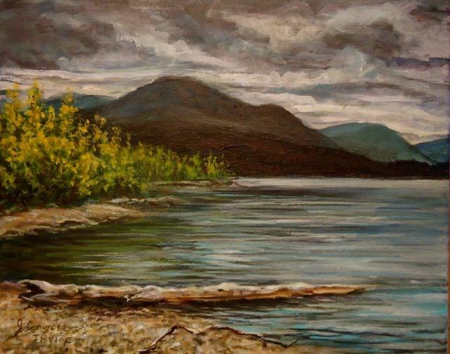 """Drury Creek Campground, Little Salmon Lake"" original fine art by Jackie Irvine"
