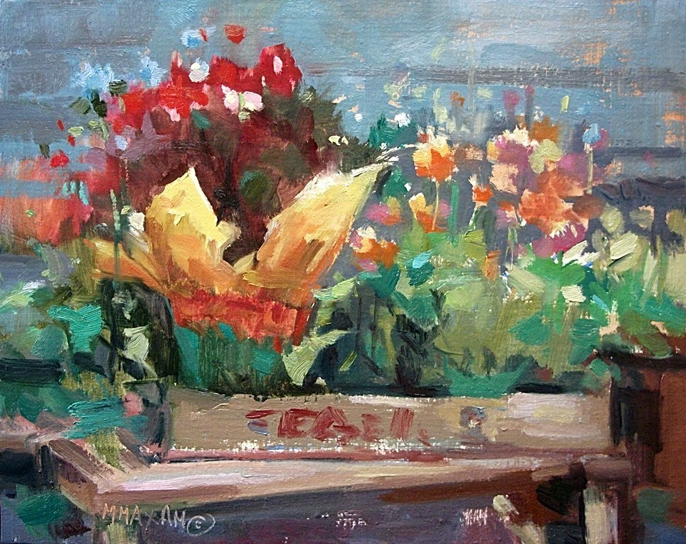 """""""Flower Gems - bedding plants and color"""" original fine art by Mary Maxam"""
