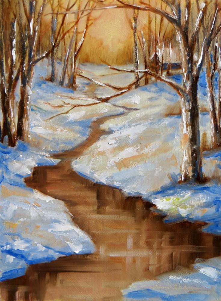 """Cabin in the Winter Woods"" original fine art by Tammie Dickerson"