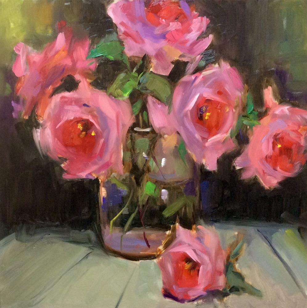 """Backyard Roses 2"" original fine art by Laurie Johnson Lepkowska"