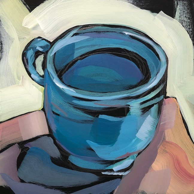 """Blue Fiesta Mug"" original fine art by Kat Corrigan"