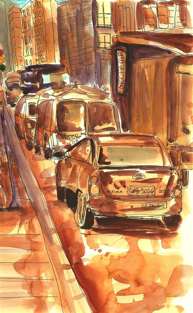 """Watercolor Street Scene, Loose Style, Pen and Ink Illustration by Penny StewArt"" original fine art by Penny Lee StewArt"