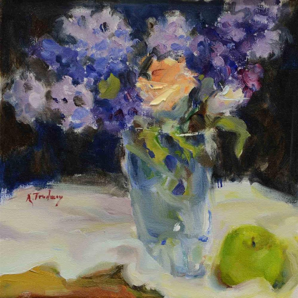 """Lilacs & Green Apple"" original fine art by alicia tredway"