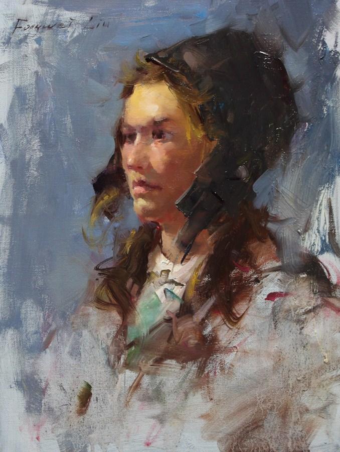 """Girl with leather hat"" original fine art by Fongwei Liu"