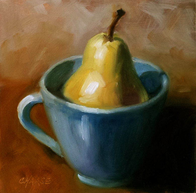 """""""Pear in Blue Cup"""" original fine art by Cindy Haase"""