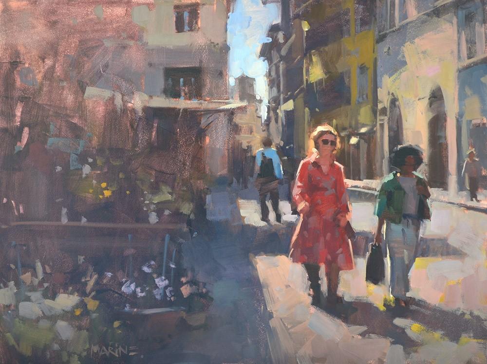 """""""Strolling by the Flower Shop"""" original fine art by Carol Marine"""