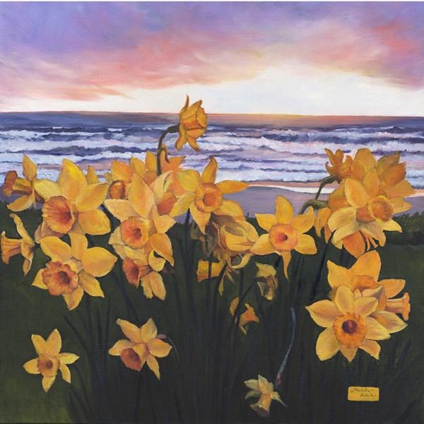 """Daffodils Glow"" original fine art by Mariko Irie"
