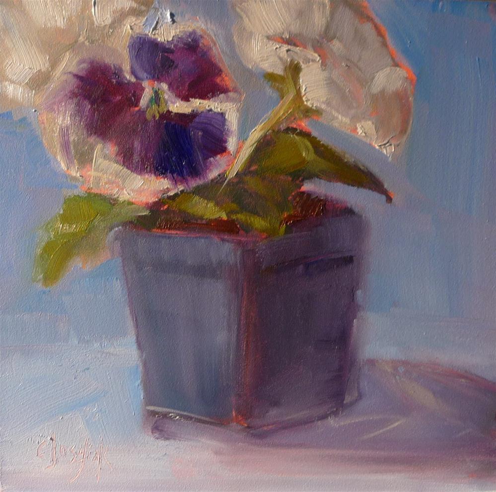 """White Pansies"" original fine art by Carol Josefiak"
