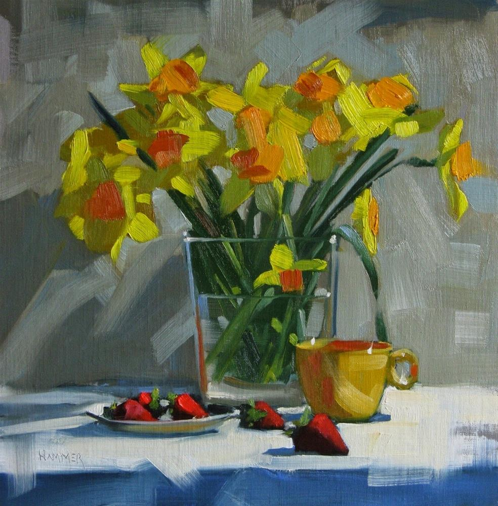 """""""Daffodils and Strawberries  12 x 12 oil"""" original fine art by Claudia Hammer"""