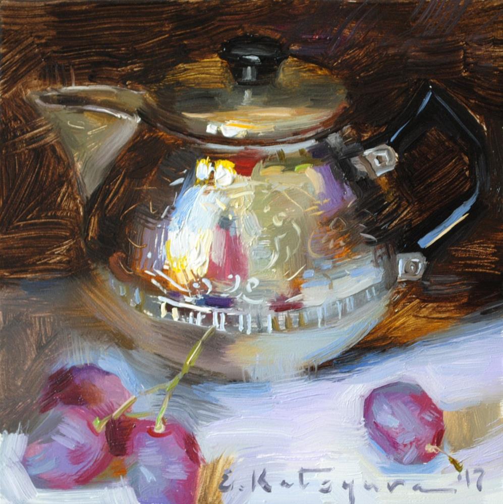 """Creamer and Grapes"" original fine art by Elena Katsyura"