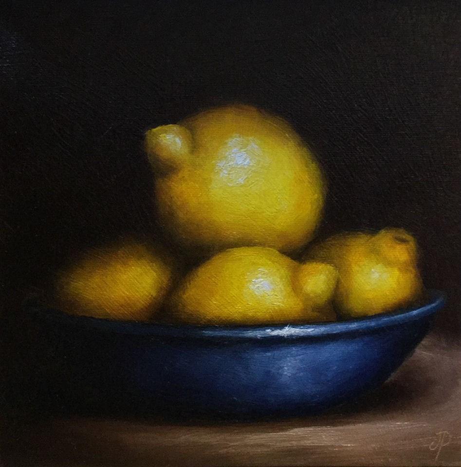 """""""Lemons in Blue"""" original fine art by Jane Palmer"""