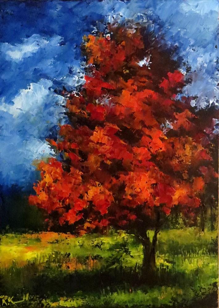 """A Red Tree"" original fine art by Bob Kimball"