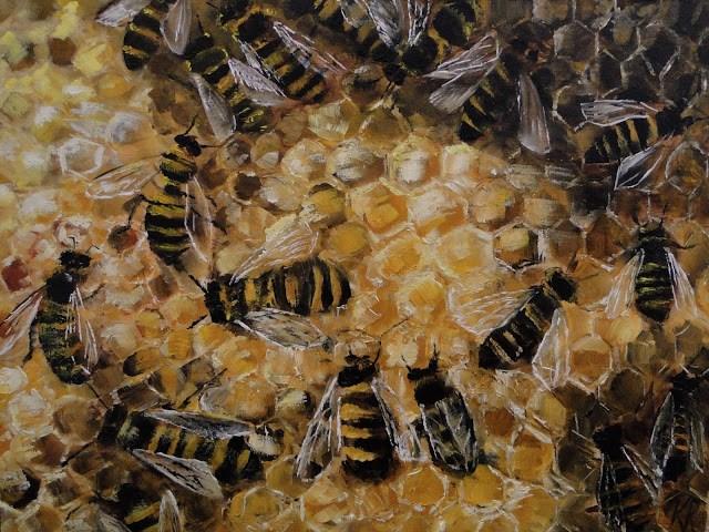 """Bees At Work"" original fine art by Karen Robinson"