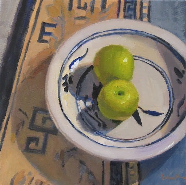 """Two Apples, Blue"" original fine art by Sarah Sedwick"