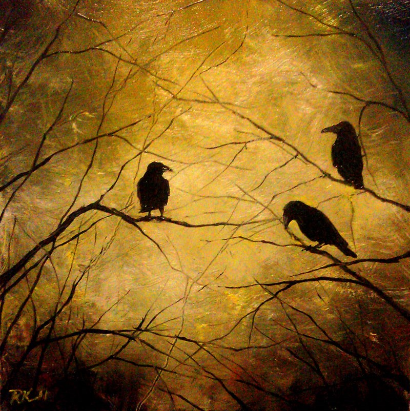 """Three Ravens"" original fine art by Bob Kimball"