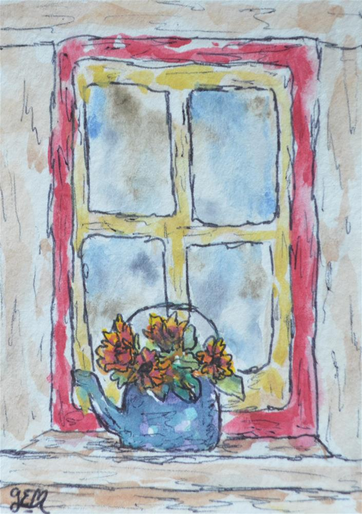 """Window Watercolor ACEO"" original fine art by Gloria Ester"
