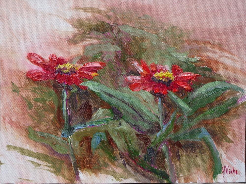 """""""Zinnia Friends"""" original fine art by Helen Viebrock Hamel"""