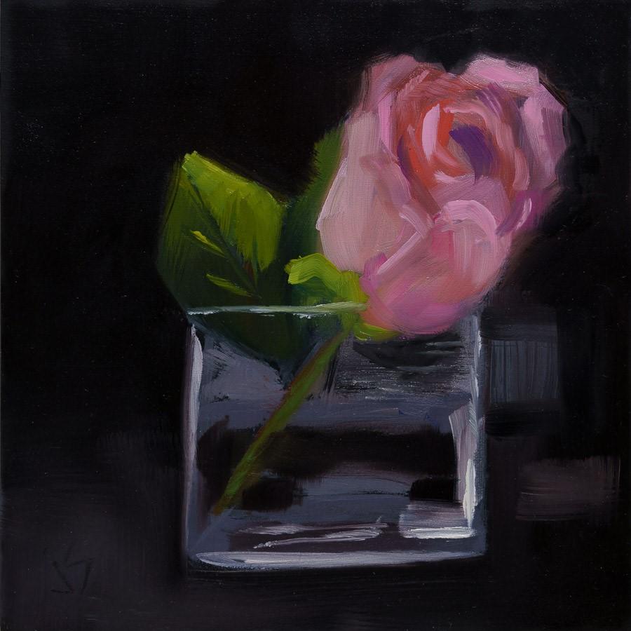 """Rose in Glass"" original fine art by Johnna Schelling"