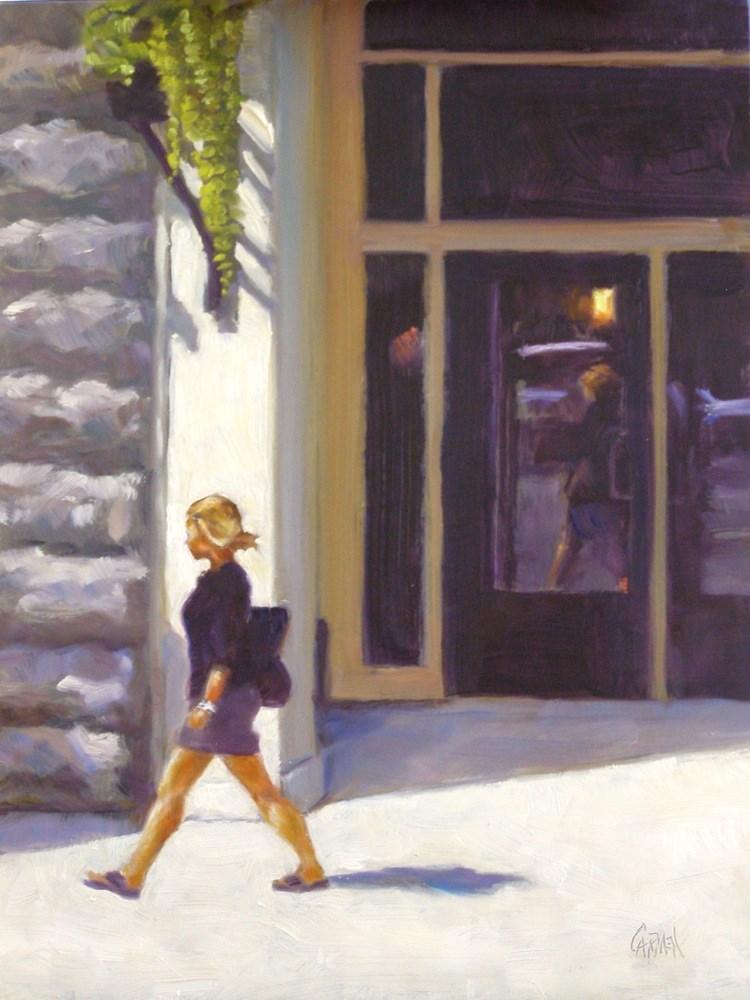 """""""City Girl, 9x12 Oil on Board"""" original fine art by Carmen Beecher"""