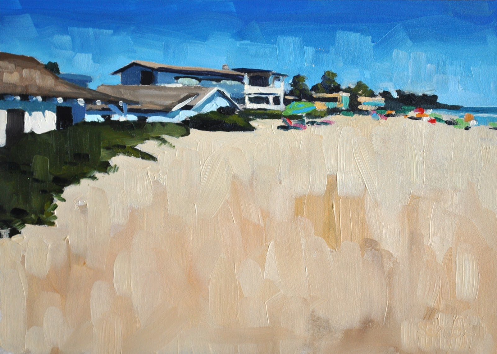 """Sunny Beach - 5x7"" original fine art by Sharon Schock"