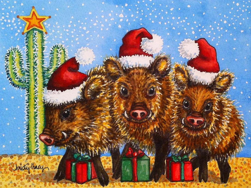 """WE THREE JAVELINA"" original fine art by Kristy Tracy"