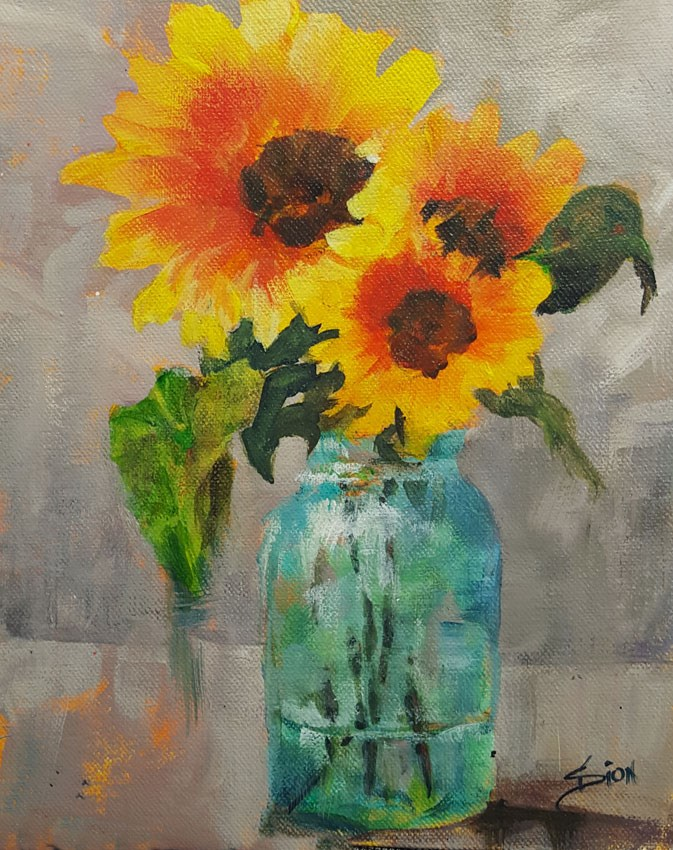 """""""Their Sunny Little Faces"""" original fine art by Sue Dion"""