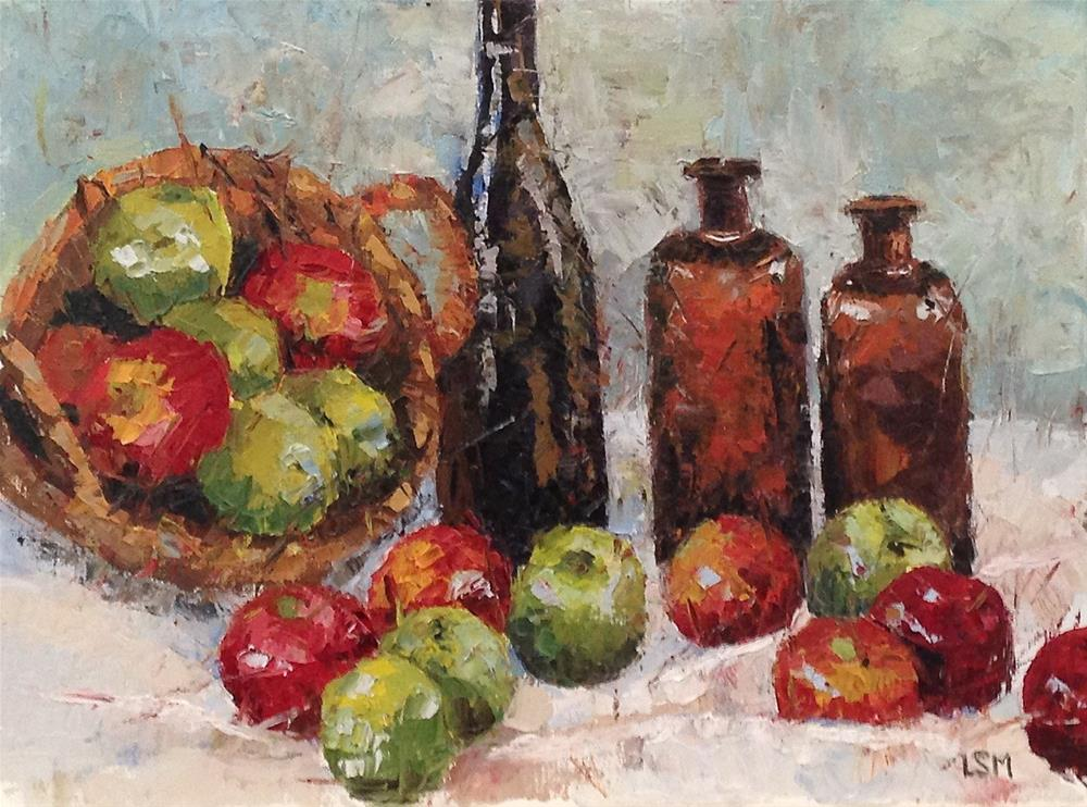 """Brown Bottles and Green Apples"" original fine art by Linda Marino"